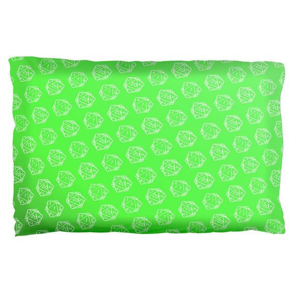 D20 Gamer Critical Hit and Fumble Green Pattern Pillow Case