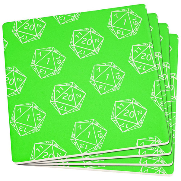 D20 Gamer Critical Hit and Fumble Green Pattern Set of 4 Square Sandstone Coasters