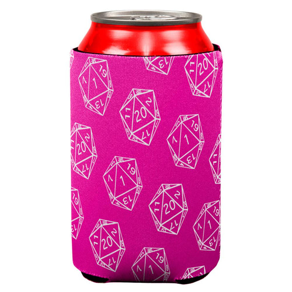 D20 Gamer Critical Hit and Fumble Pink Pattern All Over Can Cooler