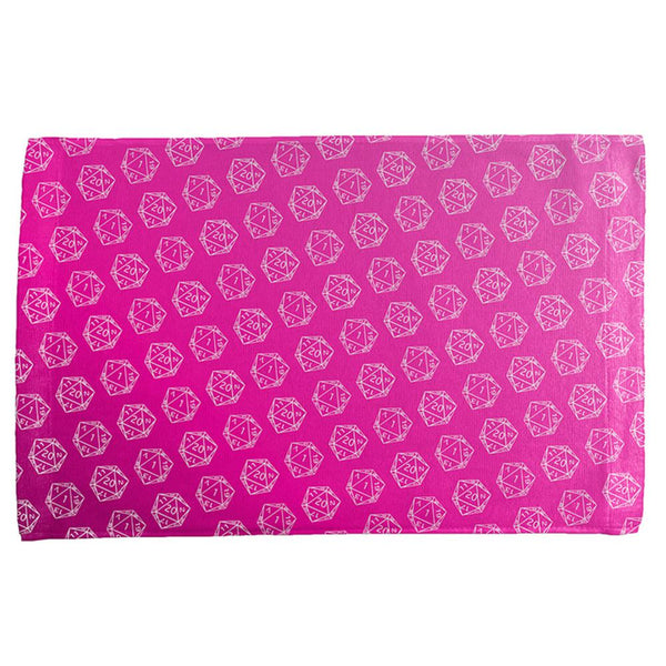 D20 Gamer Critical Hit and Fumble Pink Pattern All Over Hand Towel