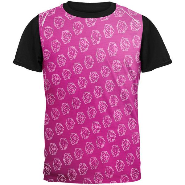 D20 Gamer Critical Hit and Fumble Pink Pattern All Over Mens Black Back T Shirt