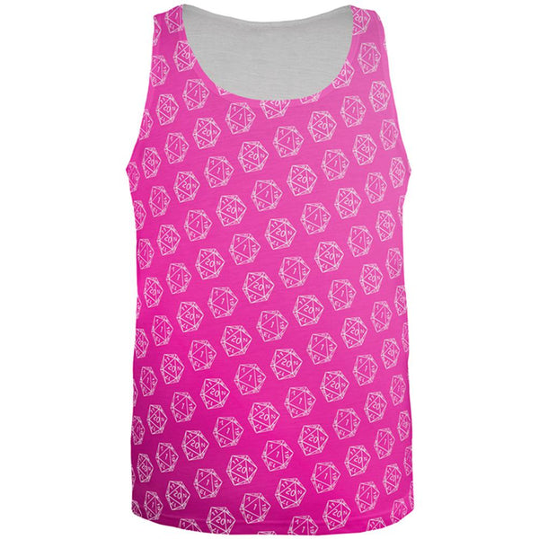 D20 Gamer Critical Hit and Fumble Pink Pattern All Over Mens Tank Top