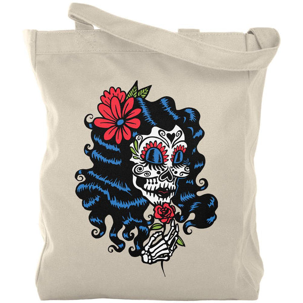 Halloween Day of the Dead Woman Skeleton Canvas Tote Bag