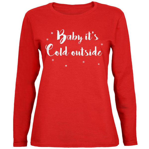 Christmas Baby it's Cold Outside Script Snowflakes Womens Long Sleeve T Shirt