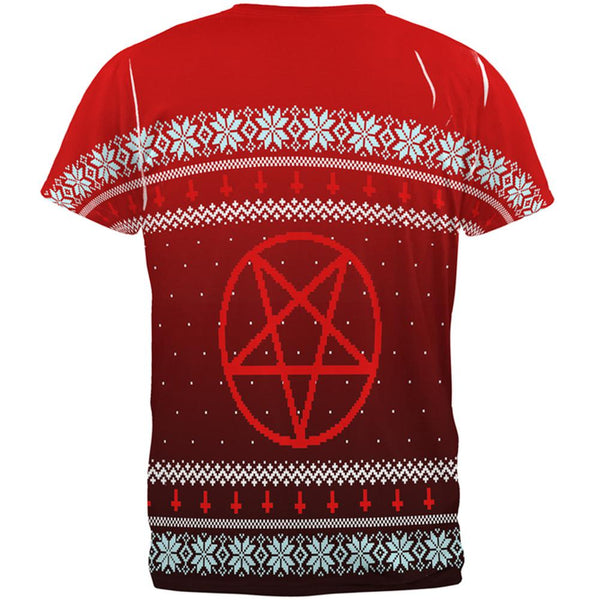 Ugly Christmas Sweater Red Black Pentagram Ombre All Over Mens T Shirt
