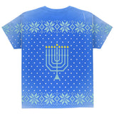 Ugly Christmas Sweater Let's Get Lit Menorah Hanukkah All Over Youth T Shirt