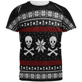 Ugly Christmas Sweater Pirate Skull and Crossbones All Over Mens T Shirt