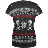 Ugly Christmas Sweater Pirate Skull and Crossbones All Over Womens T Shirt