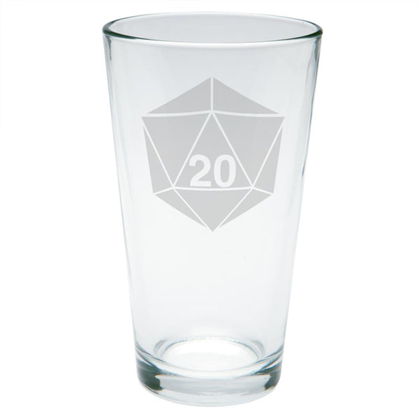 D20 Dice Table Top Game Etched Pint Glass
