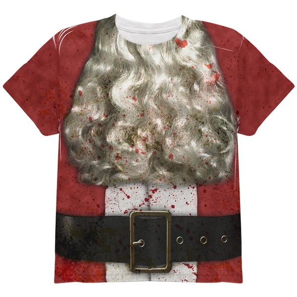 Christmas Zombie Attack Survivor Santa Costume All Over Youth T Shirt