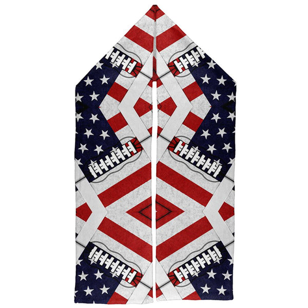 4th of July American Flag Patriot Football Warm Fleece Scarf