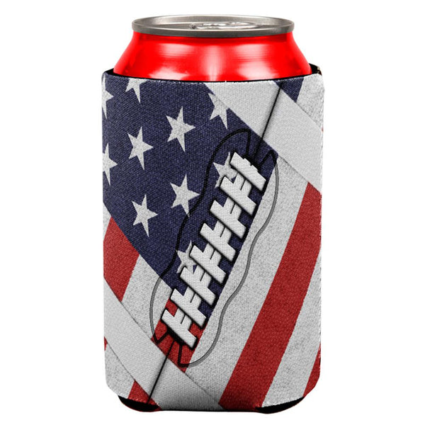 4th of July American Flag Patriot Football All Over Can Cooler
