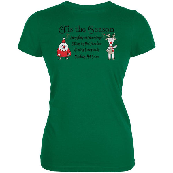 Tis the Season Fireplace Fuzzy Socks Hot Cocoa Juniors Soft T Shirt