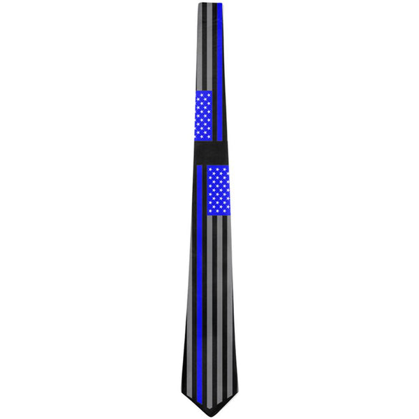 Thin Blue Line Police Lives Matter Chevron Flag All Over Neck Tie