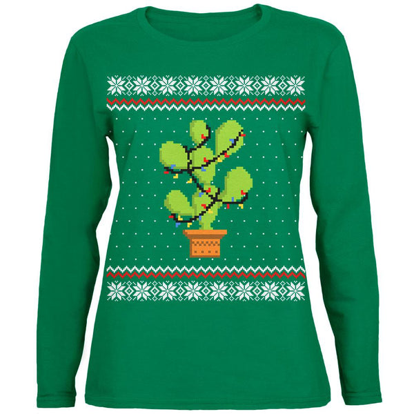 Cactus Prickly Pear Tree Ugly Christmas Sweater Womens Long Sleeve T Shirt