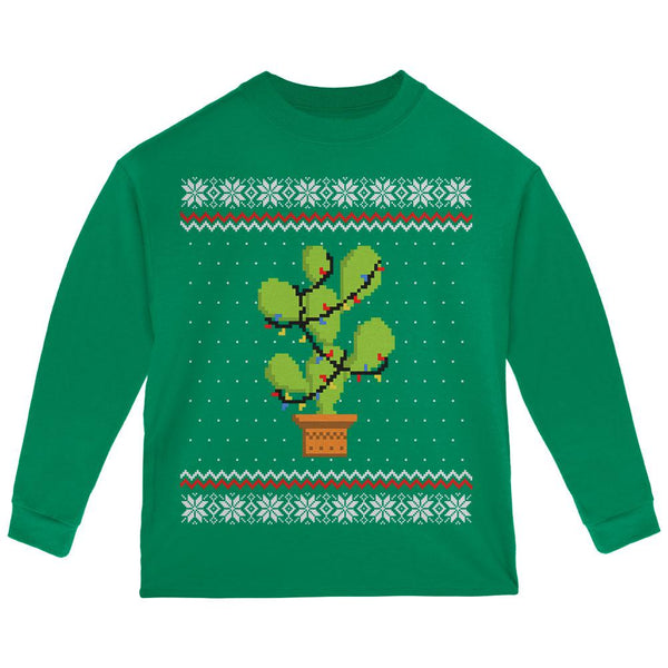 Cactus Prickly Pear Tree Ugly Christmas Sweater Toddler Long Sleeve T Shirt