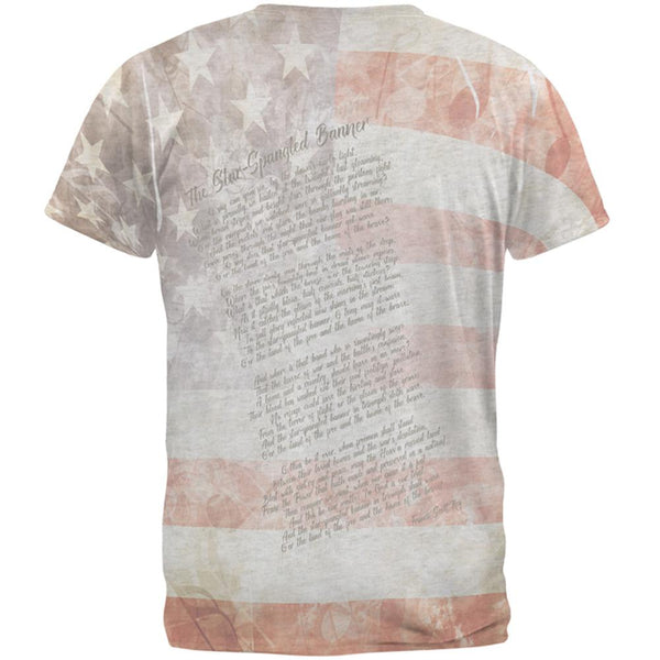 4th of July American National Anthem Flag and Lyrics Mens Soft V-Neck T Shirt