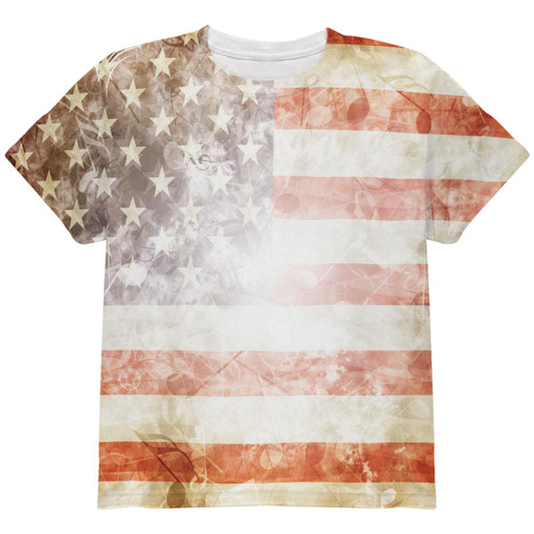 4th of July American National Anthem Flag and Lyrics All Over Youth T Shirt
