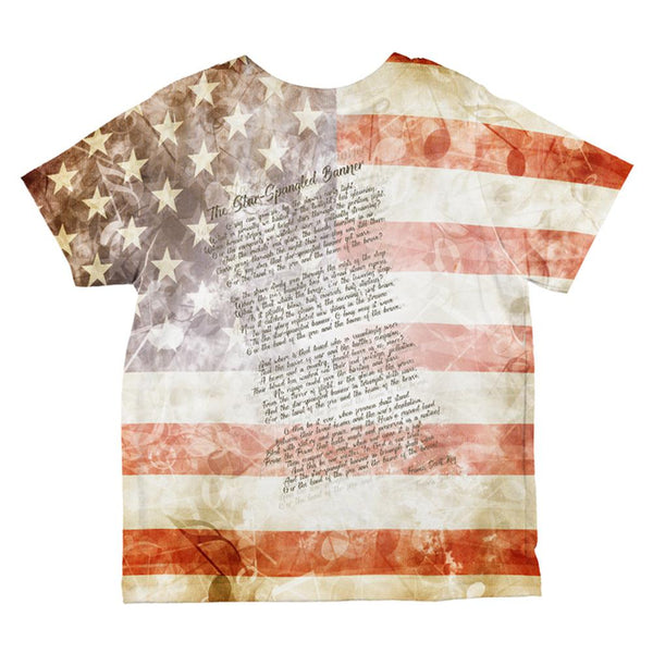 4th of July American National Anthem Flag and Lyrics All Over Toddler T Shirt