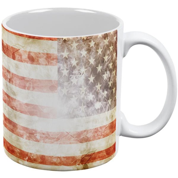 4th of July American National Anthem Flag and Lyrics All Over Coffee Mug