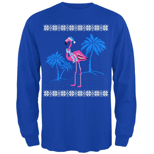 Flamingo Winter Ugly Christmas Sweater Mens Long Sleeve T Shirt