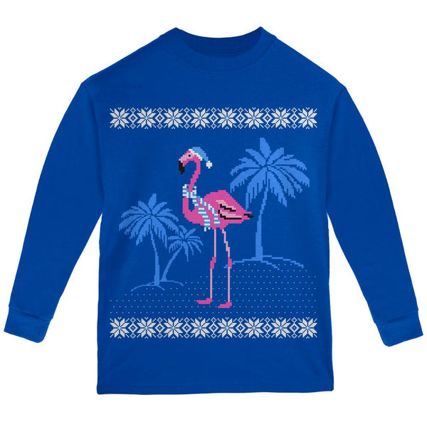 Flamingo Winter Ugly Christmas Sweater Youth Long Sleeve T Shirt