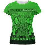 Ugly Christmas Sweater Big Cthulhu Greater Gods All Over Juniors T Shirt