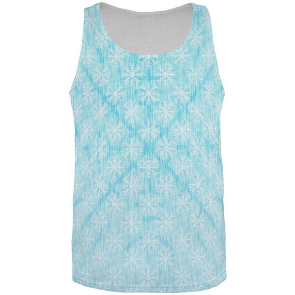 Christmas Viking Helm of Awe Snowflakes All Over Mens Tank Top