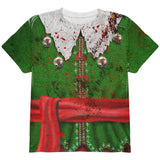 Christmas Zombie Attack Survivor Elf Costume All Over Youth T Shirt