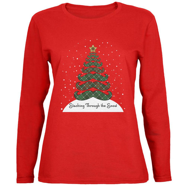 Christmas Staching Dashing Through the Snow Mustache Pun Womens Long Sleeve T Shirt