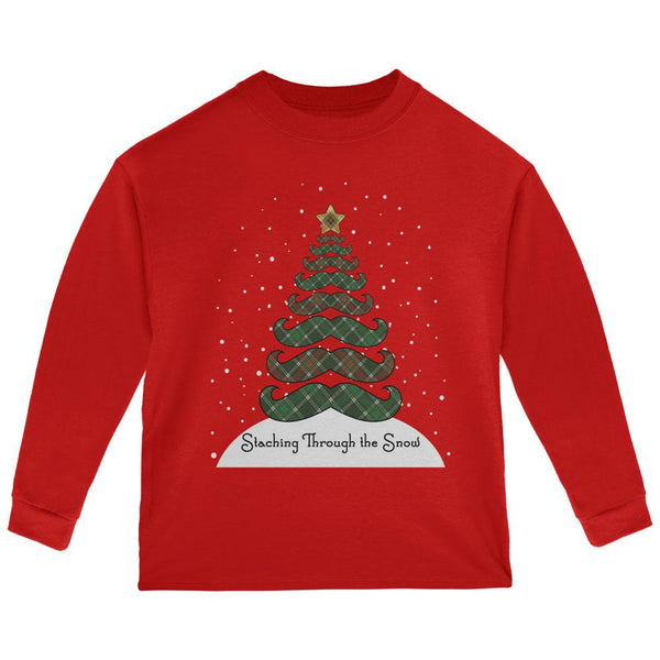 Christmas Staching Dashing Through the Snow Mustache Pun Toddler Long Sleeve T Shirt