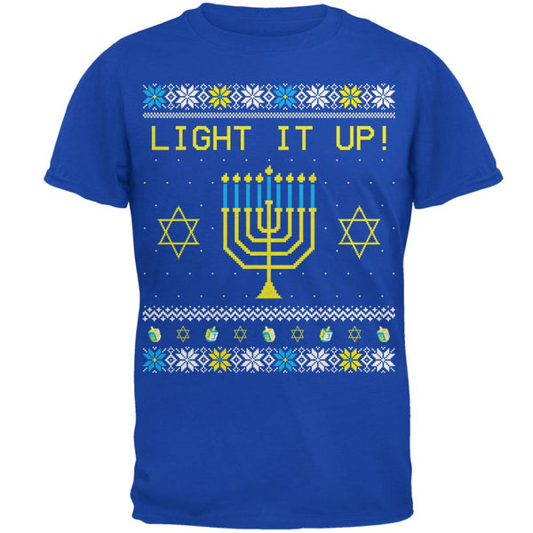 Hanukkah Light It Up Ugly Christmas Sweater Mens Soft T Shirt