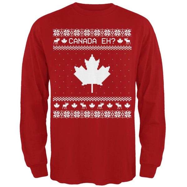 Canadian Canada Eh Ugly Christmas Sweater Mens Long Sleeve T Shirt