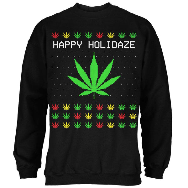 Pot Leaf Rasta Happy Holidaze Holidays Ugly Christmas Sweater Mens Sweatshirt