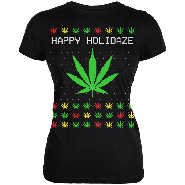 Pot Leaf Rasta Happy Holidaze Holidays Ugly Christmas Sweater Juniors Soft T Shirt