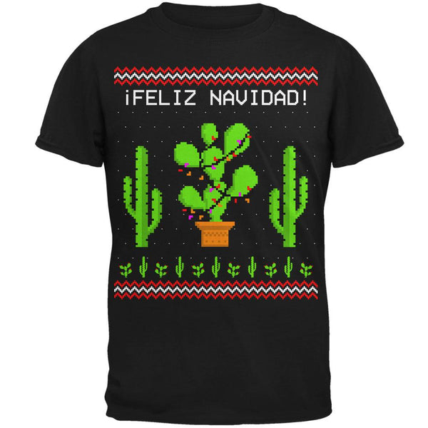 Cactus Desert Feliz Navidad Ugly Christmas Sweater Mens T Shirt