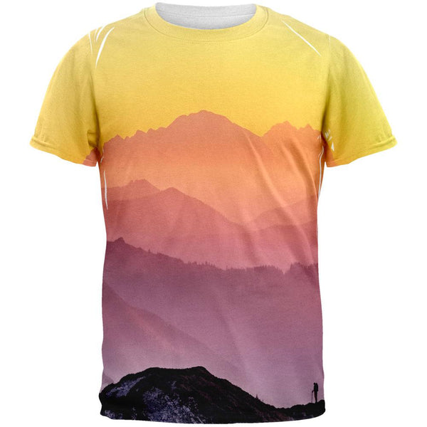 Rainbow Sunset Mountains All Over Mens T Shirt