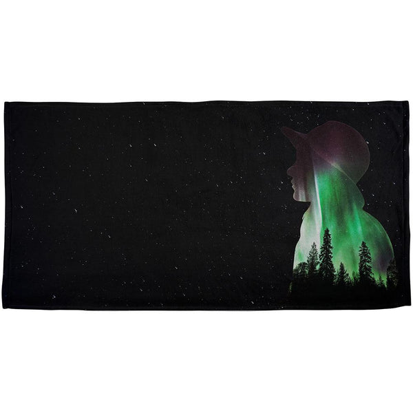 Northern Lights Adventure Girl All Over Beach Towel