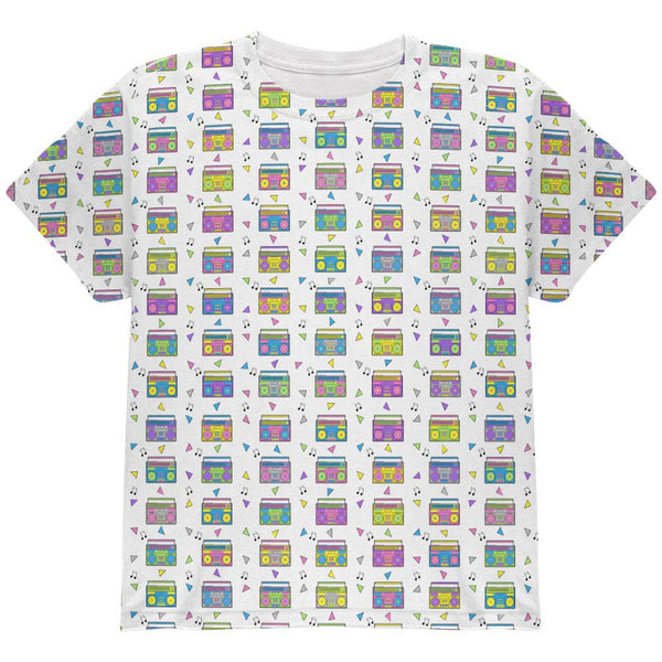 Retro Boombox Stereo Pattern All Over Youth T Shirt