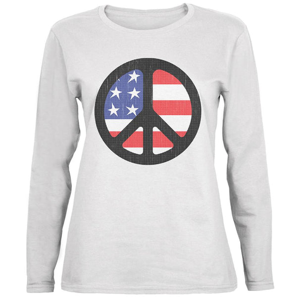 4th of July American Flag Peace Sign Distressed Halftone Ladies' Relaxed Jersey Long-Sleeve Tee