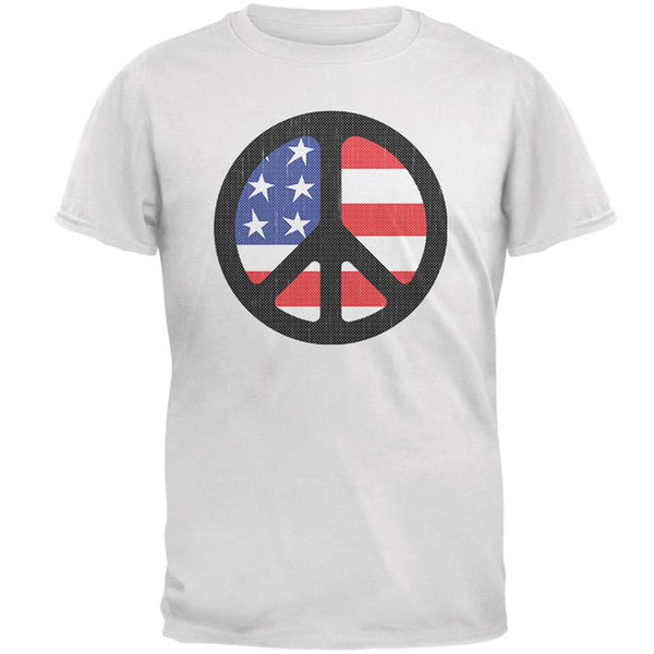 4th of July American Flag Peace Sign Distressed Halftone Mens T Shirt