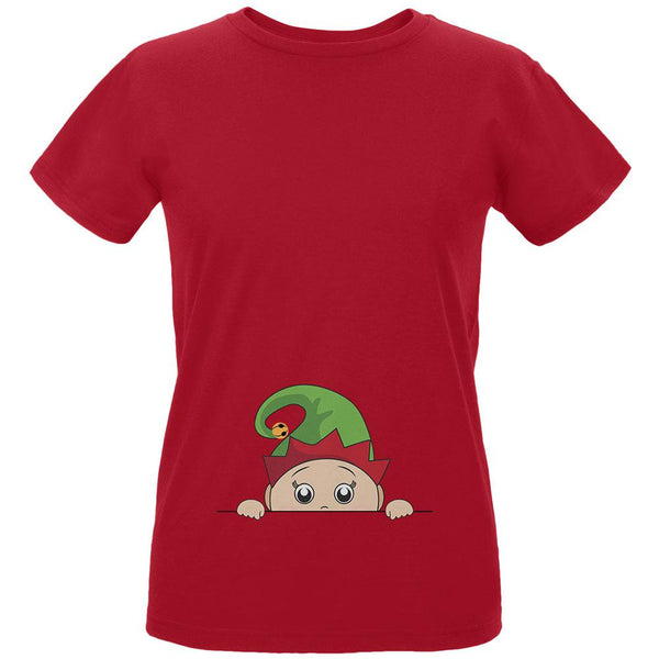 Christmas Peeking Baby Elf Green Womens Organic T Shirt
