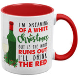 Dreaming of a White Wine Christmas Red Handle Coffee Mug