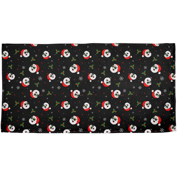 Christmas Santas in Sunglasses Pattern All Over Bath Towel