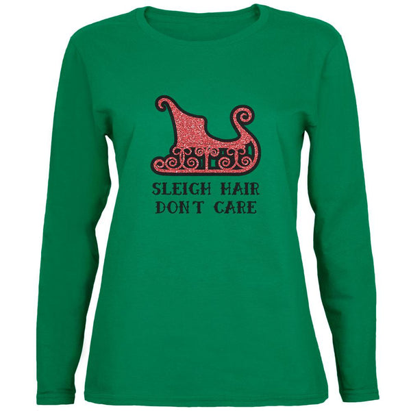 Christmas Sleigh Hair Don't Care Womens Long Sleeve T Shirt