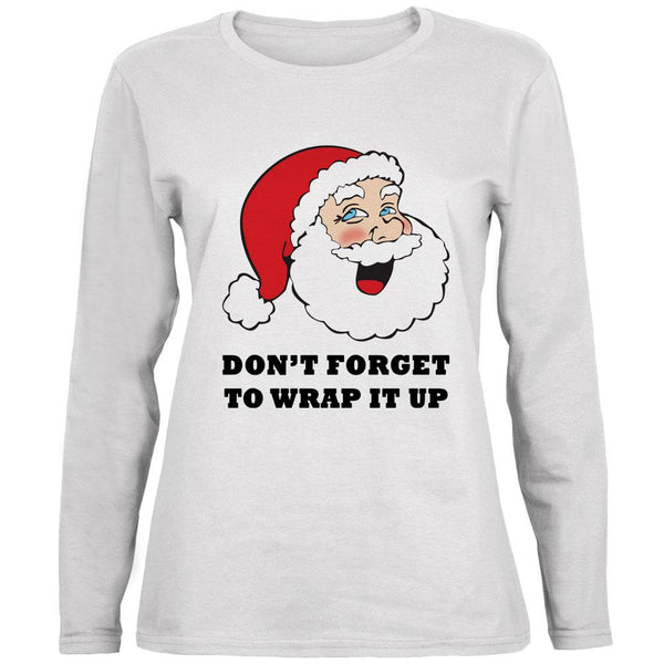 Christmas Santa Wrap it Up Funny Ladies' Relaxed Jersey Long-Sleeve Tee