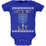 Menorah Get Lit Ugly Hanukkah Sweater Soft Baby One Piece
