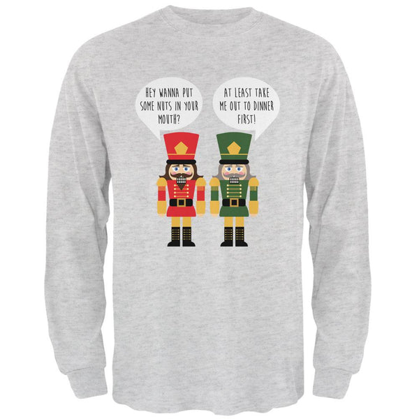 Christmas Nutcracker Nuts in Your Mouth Funny Mens Long Sleeve T Shirt