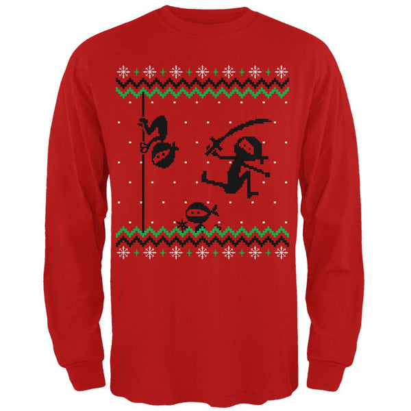 Ninja Ninjas Attack Ugly Christmas Sweater Mens Long Sleeve T Shirt