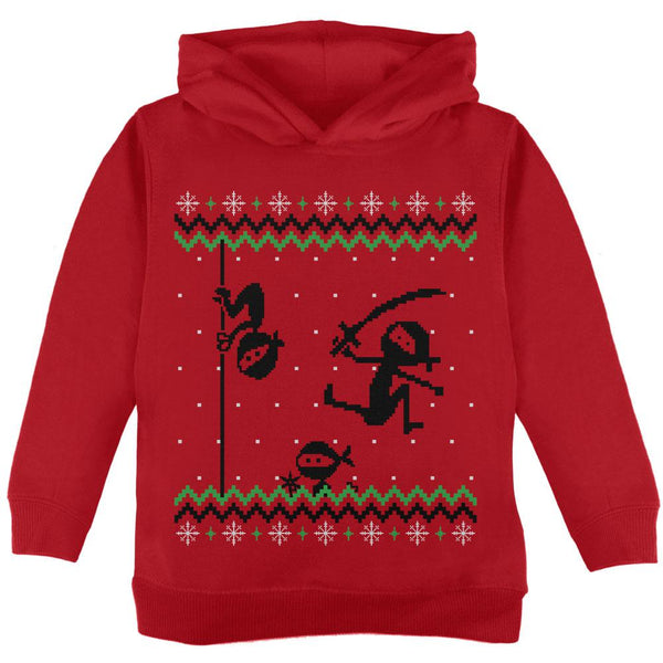 Ninja Ninjas Attack Ugly Christmas Sweater Toddler Hoodie